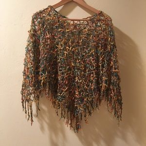 Fall Color Loosely Knit Fringed Poncho/Scarf/Shawl